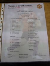19/09/2012 Colour Teamsheet: Manchester United v Galatasaray [Champions league]