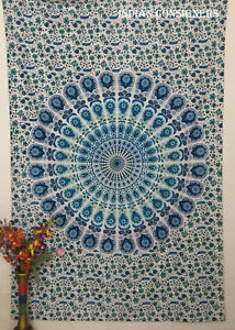 Blue Color Wonderful Peacock Design Twin Tapestry Wall Hanging Bedspread Indian