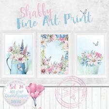 Aquarell Fine Art Print Shabby Chic Landhaus Bilder Set Blumen Druck DIN A4 |S24