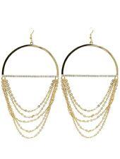 Statement Lange Ohrringe Kreolen Ketten Vergoldet Gold Kristall Klar 13,5 cm L