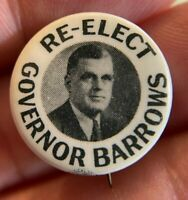 "1938 Maine RE-ELECT GOVERNOR BARROWS 7/8"" Celluloid Pin Button NEAR MINT L09"