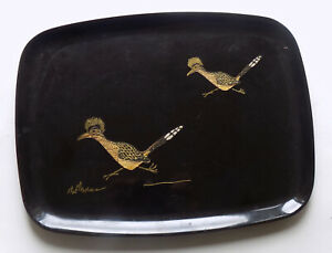 Vintage MCM Couroc Black Lacquer Tray Inlaid Roadrunners