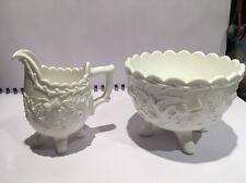 Victorian Opaque Milk Glass Bowl & Jug Davidson  Thistle, Shamrock and Rose