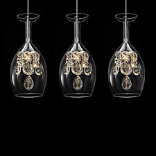 Crystal LED CUP Glass 3 Light Chandelier Pendant Lamp Home Bar Ceiling Lighting