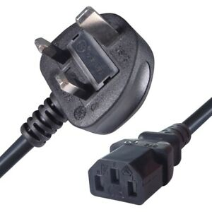 3m Long IEC Kettle Lead Power Cable 3 Pin UK Plug PC Monitor C13 Cord