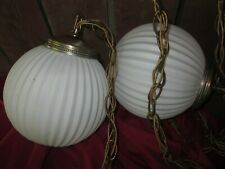 Vintage Mid century double Swag Lamp ribbed white Glass Retro Hanging ceiling