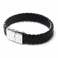Punk Men Stainless Steel Black Leather Surfer Cuff Wristband Bracelet Bangle