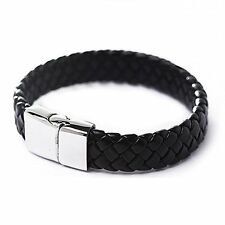 Punk Men Stainless Steel Black Leather Surfer Cuff Wristband Bracelet Bangle
