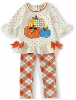 Rare Editions Toddler Girls Pumpkin Bows 4T Thanksgiving Fall Ivory Legging Set
