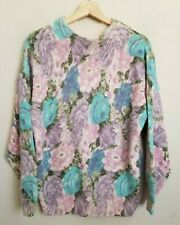 Extra Energy Vintage Sweater Mock Turtleneck Pink Floral Multi Silk Angora Sz M