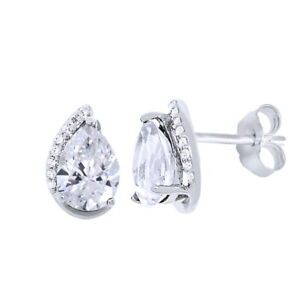 10K White Gold Pear-Shaped White Sapphire & Natural Diamond Stud Earrings