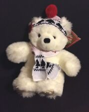 Applause Winter Magic White Teddy Bear Knit Scarf & Hat W/ Tags