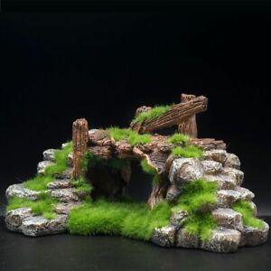 Aquarium Fish Bridge Resin Moss Play Cave Decor Fish Tank Ornament House