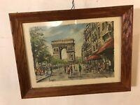 Antique Print Vargas Paris Champs Elisse.oakFramed+glass.C8pix4detail.MAKE OFFER