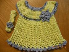 Handmade crochet YELLOW baby dress +headband set NewborN-6 MONTHS-little SWEETIE