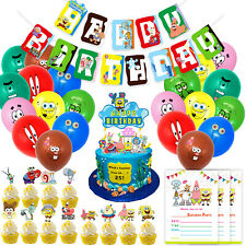 Spongebob Birthday Party Supplies Banner, Cake, Cupcake Toppers, Balloons