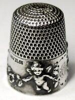 "Antique Simons Bros. Sterling Silver Thimble  ""Cupid""  ""AM"" Monogram  Dtd 1905"