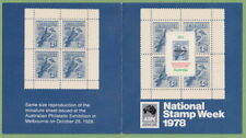 "AUSTRALIA 1978 - RARE red o/print ""No 26192 National Stamp Week"" M/Sheet/Booklet"