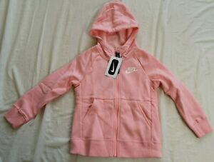 Nike Girl's Pink Full-Zip Sportswear Hoodie Size XS Age 7-8 Years New With Tags