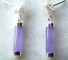 Fashion Purple Lavender Jade 925 Sterling Silver Fortune Stick Earrings