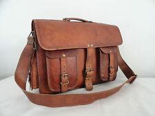 Mens Vintage Leather Briefcase 17 Inch Laptop Satchel Crossbody Messenger Bag