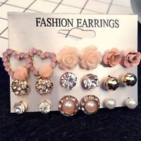 9 Pairs/Set Women Rhinestone Crystal Pearl Flower Earrings Ear Stud Jewelry