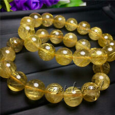 Natural Gold Rutilated Quartz Titanium Crystal Beads Bracelet 11-10mm AAA