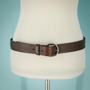 Leather Belt Size 36 Tooled Embossed Print Dark Brown Genuine Silver Adjustable