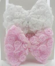 NURSERY TIME Lot de deux bandeaux noeud un rose et un blanc fille 0-6 mois