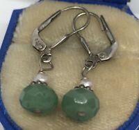 Vintage Sterling Silver Earrings 925 Jade Green Stone Dangle