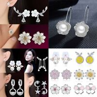 Fashion Silver Crystal Ear Stud Flower Pearl Moon Earrings Women Jewelry NEW