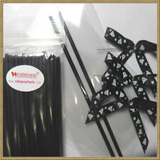 """50 x (6"""" Lollipop Stick + Bag + Ribbon Bow) for cake pops in Halloween  - Ghost"""