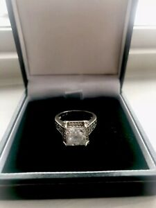 Diamond Engagement Valentines Day Silver Ring 925