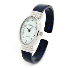 Tortoise Silver Blue Acrylic Band Large Oval Face Women's Bangle Cuff Watch