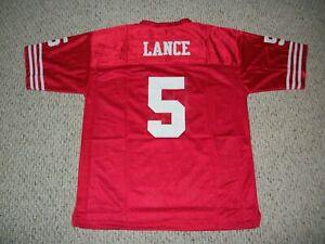 TREY LANCE Unsigned Custom Red San Francisco Sewn New Football Jersey Szes S-3XL
