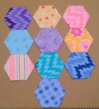 "40 Candy Curl Fabric Hexagons - 3"" hexagons - 10 different designs inc."