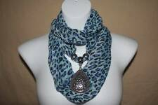 US Seller NEW Womens Necklace Scarf Infinity Loop Blue Leopard Teardrop Pendant
