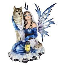 Arctic Chaperone Fairy & Wolf Figurine / Nemesis Now
