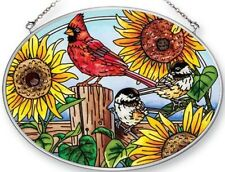 Amia Songbirds & Sunflowers Cardinal Painted Glass Medium Oval Shaped Suncatcher