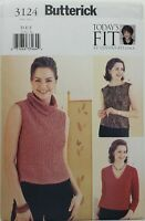 Butterick 3124 Cowl, V-Neck Pullover Top Sz 10-14 & 16-20 UNCUT Sewing Pattern