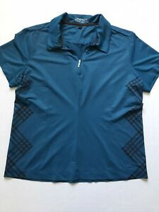 NIKE Sz L Fit Dry Polo Teal Short Sleeve Shirt Golf Tennis 1/4 Zip Houndstooth