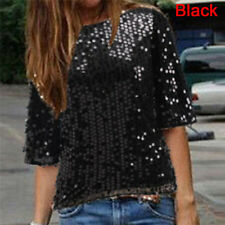 Women Loose off Shoulder Sequin Sparkling Ladies Blouses Casual Shirt Party Tops XXL Black