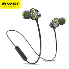AWEI Wireless Headphones Dual Driver Sports Bluetooth Headset 4D Surround Sound