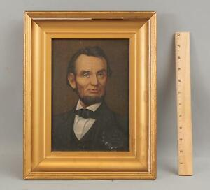 Antique Illinois Watch Advertising Canvas Lithograph Sign ABRAHAM LINCOLN