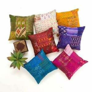 Unique Patchwork Cushion Cover 16x16 Inch, Square Throw Boho 5 pcs Pillowcase