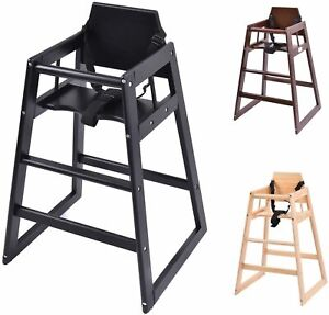 Baby Highchair Wooden Stackable Kids Infant New Restaurant Cafe Pub Feed Chair