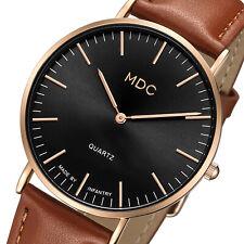 Reloj de Pulsera MDC para hombre Caballeros Cuarzo Analógico simple moda Ultradelgada De Cuero Marrón