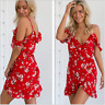 Womens Strappy Floral Boho Chiffon Dress Cold Shoulder Beach Mini Dresses Red