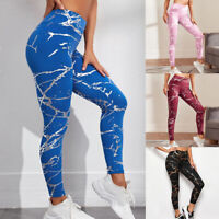 Damen Yoga Leggings Push Up Sporthose Fitness Leggins Stretch Hosen Gym Pants