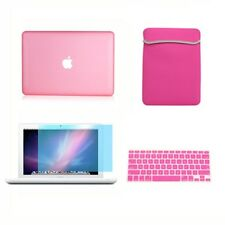 """4in1 Rubberized PINK Case for Macbook White 13"""" +Keyboard Cover +LCD Screen+ Bag"""